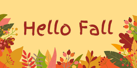 Hello Fall banner. Autumn season background with September, October and November leaves.