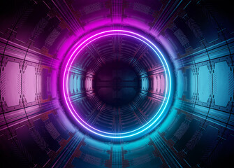 Neon style circle mockup in futuristic piping. Blue and pink modern hologram illuminated by lights in futuristic interior 3D rendering