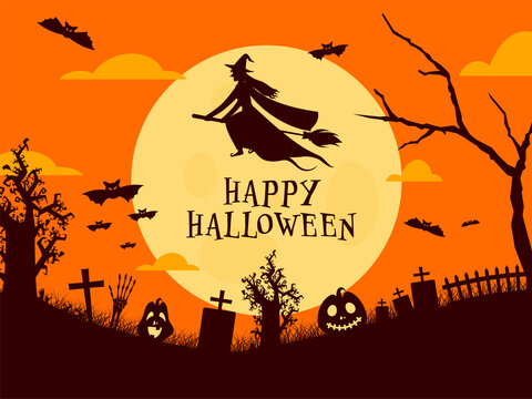 Full Moon Graveyard Background with Witch Flying on Broom, Bats, Skeleton Hand and Spooky Pumpkins for Happy Halloween Celebration.