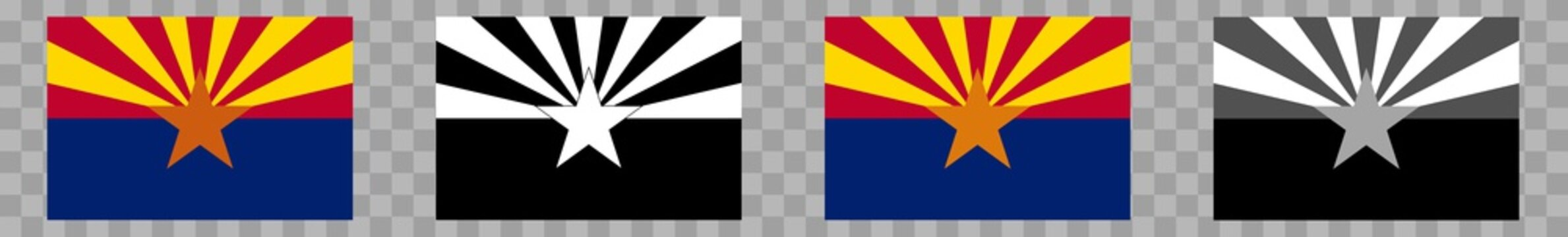 Arizona Flag Colors Black | State Flags | Banner | Symbol | Vector | Isolated | Variations