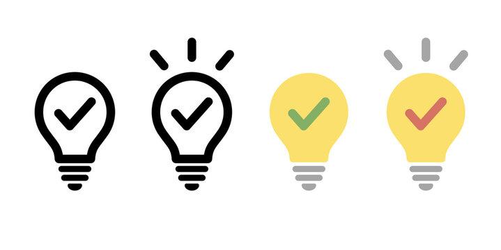 電球のアイコンのセット/シンプル/ピクトグラム/閃き/ライト/ビジネス/発見