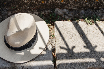 Mens Sunhat on a stone bench top view