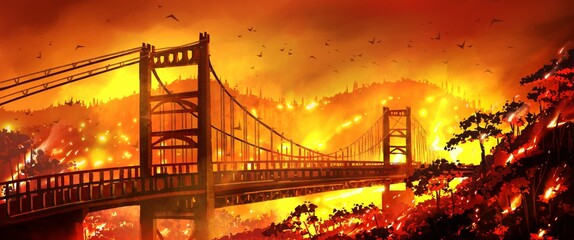 Golden gate bridge California Bridge is on fire and mountain forests are burning.