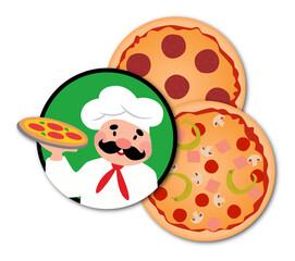 Pizza und Pizzabäcker für Pizzeria