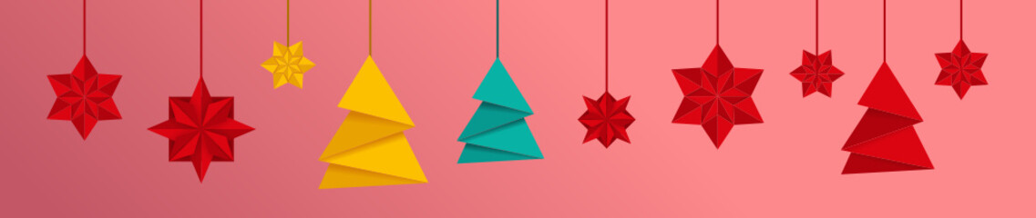 Weihnachtlicher Banner mit Origami Sternen und Weihnachtsbaum