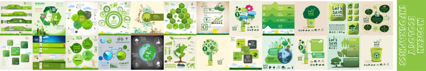 Modern ecology infographics template - fototapety na wymiar