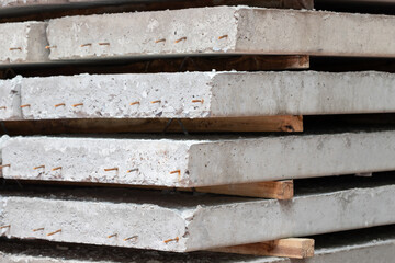 stacked precast concrete floor in site construction.