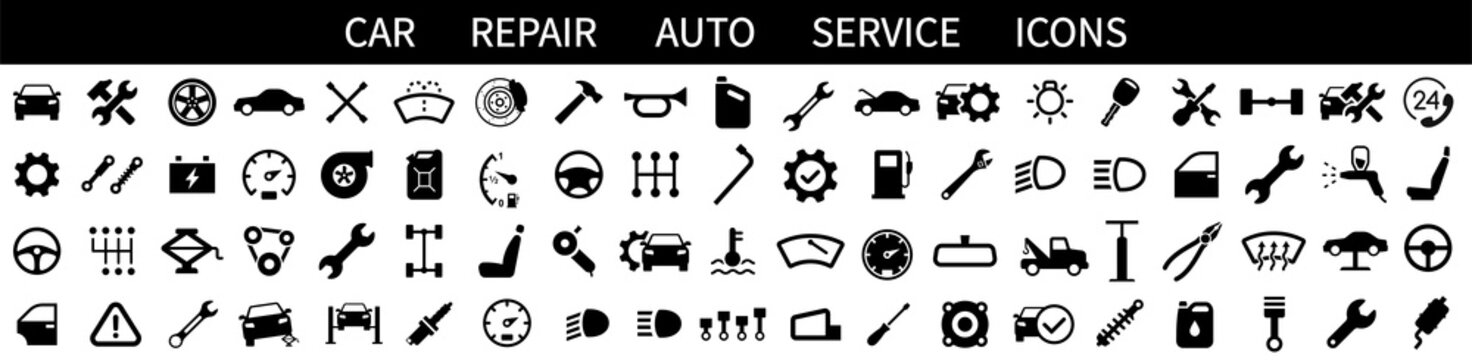 Car service icons set. Car repair. Auto service. Garage icons collection. Vector