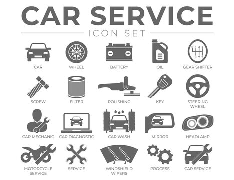 Car Service Icons Set with Battery, Oil, Gear Shifter, Filter, Polishing, Key, Steering Wheel, Diagnostic, Wash, Mirror, Headlamp Icons