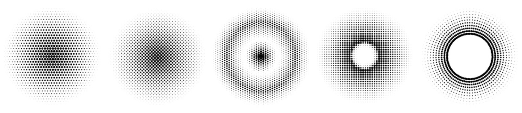 Set of simple halftones. Black gradient circles of dots. Dotwork. Vector illustration.