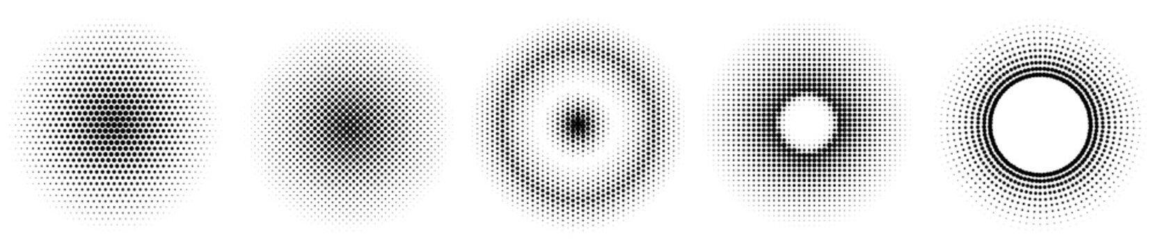 Set of simple halftones. Black gradient circles of dots. Dotwork. Vector illustration.