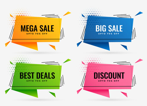 geometric discount and sale banners set