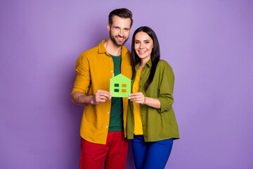 Photo attractive lady handsome guy hold green paper house change apartments flat relocation buy new...