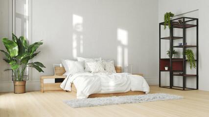 Doppelbett im Schlafzimmer mit Topfpflanzen