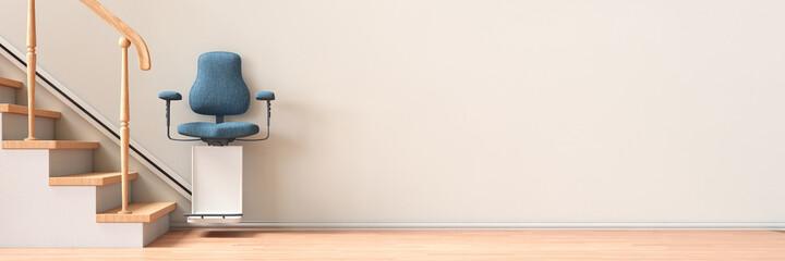 Treppenlift an Wand für altersgerechtes Wohnen zu Hause