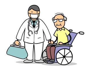 Arzt mit Mundschutz neben Senior im Rollstuhl