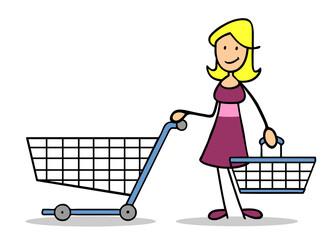 Frau mit einem leeren Einkaufswagen und Einkaufskorb