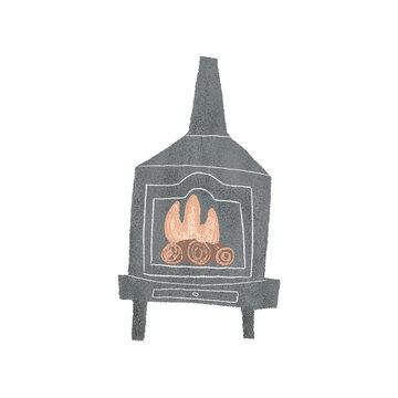 Fireplace illustration, hygge essentials
