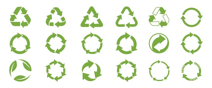 Recycle icon set. Recycling Vector Isolated on white background. Recycle sign or symbol