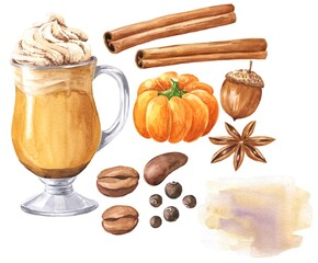 Watercolor pumpkin spice latte set with cinnamon, coffee beans and allspice on white background. Watercolour fall season food illustration.