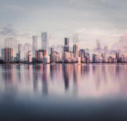 city skyline miami florida building reflections usa