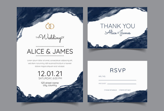 Luxury Marble Wedding invitation cards, Save The Date card design.  watercolour brush decoration style..
