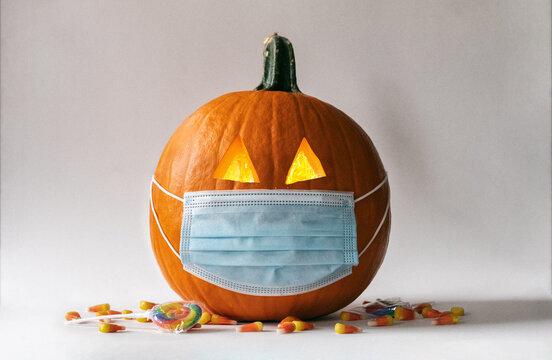 Covid Pandemic Halloween Pumpkin Jack-O-Lantern