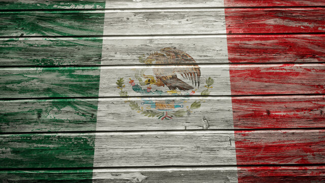 Mexico flag painted on weathered wood planks