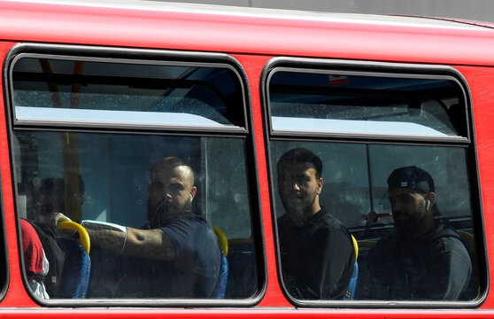 "Passengers are seen on a London bus, whilst the reproduction ""R"" number of COVID-19 infections in the United Kingdom has risen and may be above 1, London, Britain"