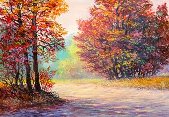 Oil painting landscape - colorful autumn forest with dear. Hand Painted Impressionist.