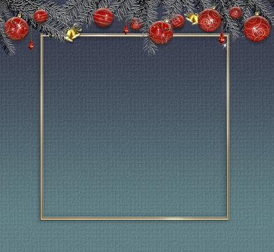 Christmas border, frame, mock up.