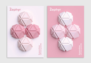 Minimal 3D Poster Design Layout with Geometric Shapes Art