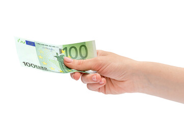 Woman's hand holding one hundred euro banknote. Isolated on white.