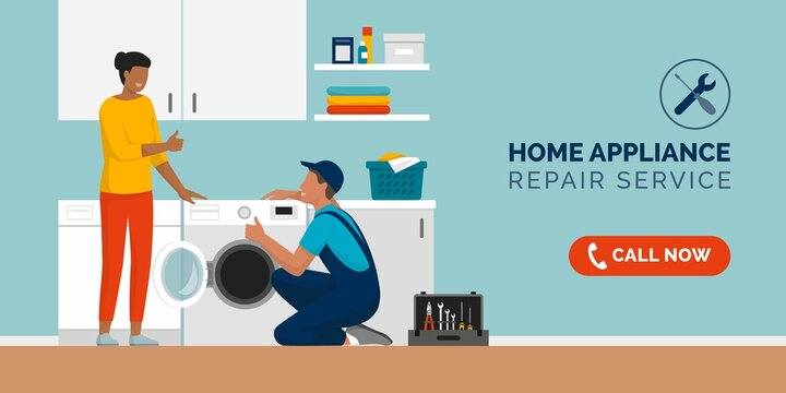 Repairman fixing appliances at home and happy customer