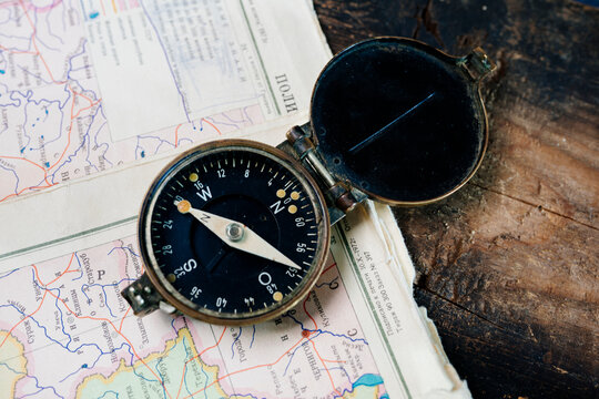 the compass is on the map