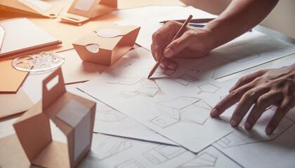 Designer sketching drawing design Brown craft cardboard paper pr