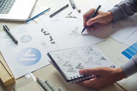 Graphic designer sketch design logo