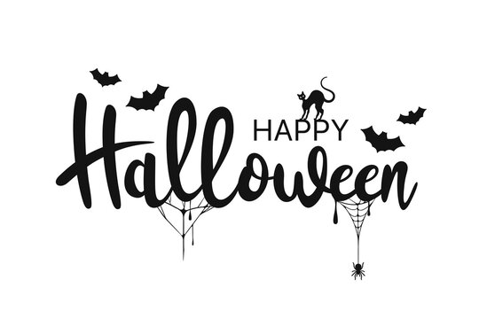 Happy Halloween lettering. Handwritten calligraphy with spider, cat and spider web for greeting card, poster, banner, flyer and invitation. Happy Halloween text, spooky background