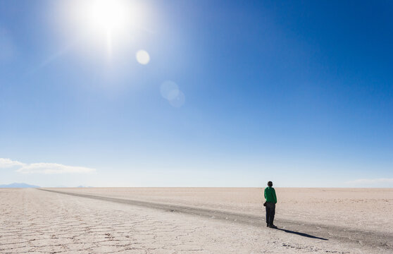 Strong sun in the salt desert, bolivia