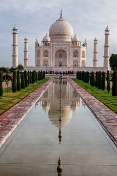 The iconic Taj Mahal, one of the Seven Wonders of the World.