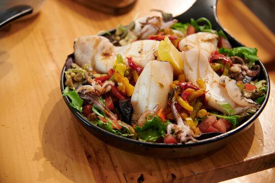 squid with vegetables Mediterranean cuisine