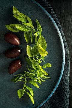 Fresh Basil and Black Olives