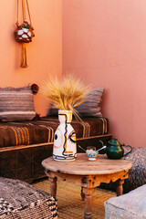 Pink Boho Corner With African Cushions