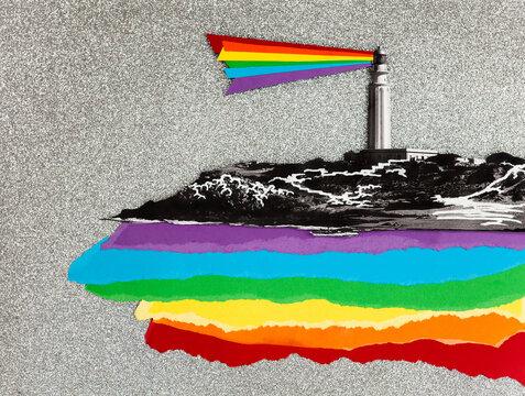 LGBTQ lighthouse collage