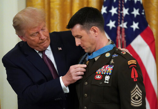 U.S. President Donald Trump presents the Medal of Honor at the White House in Washington