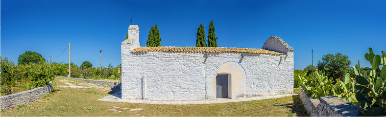 Panoramic view of an ancient church from the 10th century