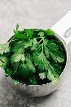 Italian Parsley in a measuring cup