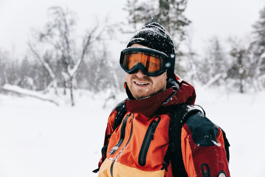 Male Skier With Ski Goggles