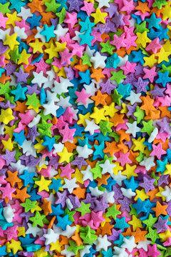 Colorful star shaped cake sprinkles