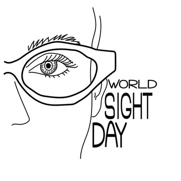 World Sight Day, Part of a human face with glasses, a human eye, a symbolic image of vision and a thematic inscription